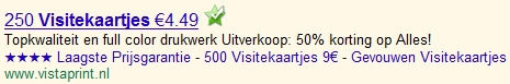 Google AdWords advertentie met symbolen