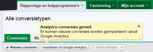 Analytics doelen importeren in Google AdWords