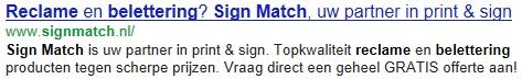 SignMatch zoekresultaat